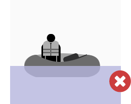 Incorrect deployment: beacon is lying down inside a life raft, rather than pointing vertically with a clear view of the sky.